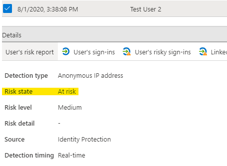 Risk detected admin view