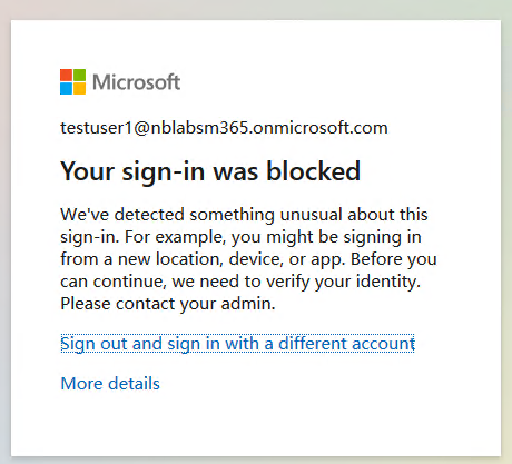 Blocked sign-in