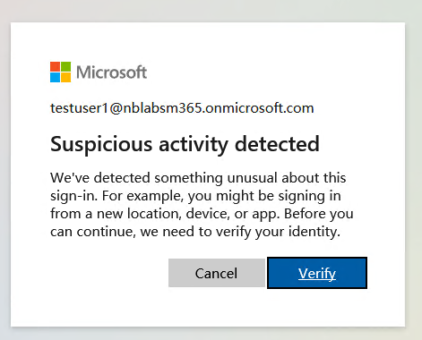 Risk detected shown to end user